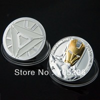 *New design* sample order  Retail The Avengers Iron Man Challenge silver and gold plated Coin Christmas Gift Coins