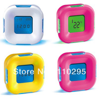 New 2013 4 in1multi-fonction induce colours rotate alarm clock calendar+countdown+temperature electronic timer 4 pcs/lot