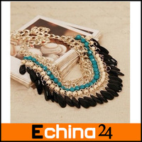 Bohemia national wind pressure water chain tassel necklaces clavicle green necklaces Free Shipping