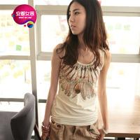 As summer women's fashion feather print spaghetti strap vest female basic 9202201