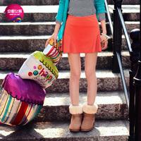 As 2013 autumn vintage both sides ruffle hem slim small short skirt female 9313202