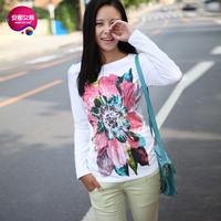 As 2013 women's o-neck anter big flower print long-sleeve T-shirt 9341225