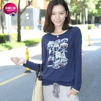 As 2013 women's headcounts flock printing o-neck print long-sleeve T-shirt 9341227
