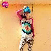 As autumn multicolour nsutite grid print basic shirt long-sleeve T-shirt female 9301206