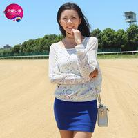 As 2013 women's national trend multicolour dot long-sleeve T-shirt 9341211