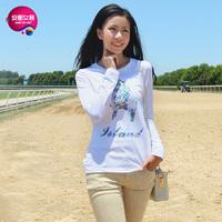As 2013 women's o-neck flower parrot pattern print long-sleeve T-shirt