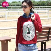 As 2013 women's denim patchwork thick print faux two piece sweatshirt 9340202