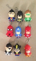 5 pcs together!Fashion Creative super hero key chain model USB 2.0 Memory Stick Flash Drive 1GB 2GB 4GB 8GB16GB 32GB