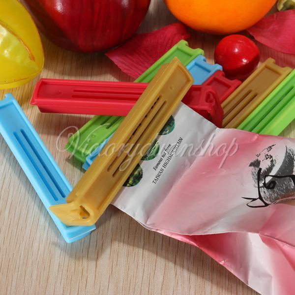 Free Shipping 10pcs/lot Home & Garden Food Plastic Storage Bag Sealing Sealed Clip Lock Pack Package Sealer Flesh(China (Mainland))