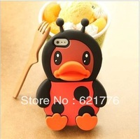 New Arrival! 3D Cute Duck Boby Silicone soft Case For iPhone 4 4G 4S & iPhone 5 5G, Retail Box, Free Shipping