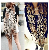 Explosion models Korean version of spring and new Ms. chiffon leopard scarf shawl scarves wholesale dual