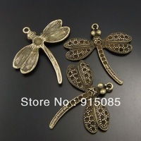Whosesale antique bronze dragonfly pendant charm 12pcs 02887