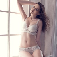 Song arrail fashion ballet fuguists lace underwear female thickening push up thick small white bra set