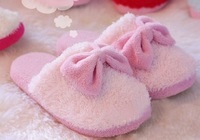 2pair/lot W005 Plush Stuffed Slippers Cuddly Fluffy Warm House Slippers Bowknot Shoes Free Shipping