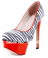 new 2013 hot selling fashion zebra Horsehair sapatos high heels shoes woman platform pumps sandals sandalias