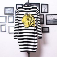 2013 autumn and winter chest embroidery plush tiger black and white stripe thick knitted one-piece dress