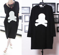 Autumn punk skull long-sleeve loose one-piece dress plus size long design t-shirt plus size clothing basic