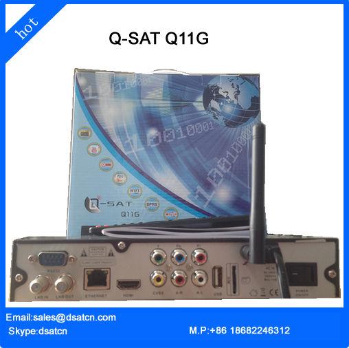 Q-Sat Q11G qsat 11g Free Shipping HD DVB S2 Africa GPRS Decoder With SIM Card Slot (Q Sat) QSat TV Receiver(China (Mainland))