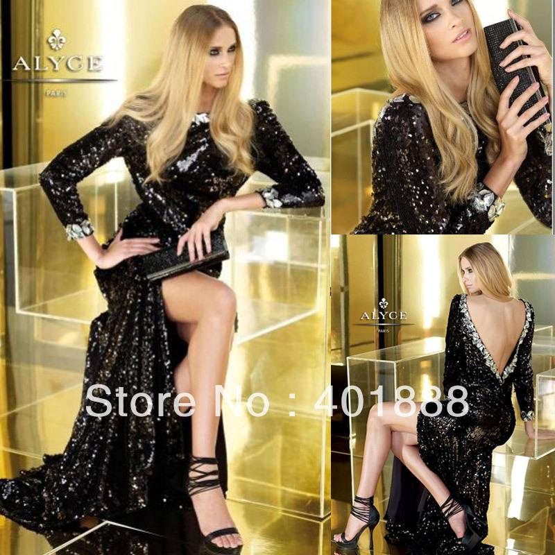 Sexy Black Sequins Crystal Backless High Neck Split Long Sleeve Maxi Evening Dress