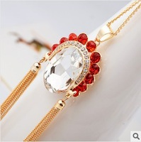 Free Shipping 2013 New Arrived Characteristics of Chinese wind red crystal tassels Peking Opera actress long necklace for women