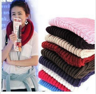 Fashion Women Warm Knit Neck Circle Wool Blend Cowl Snood Long Scarf Shawl Wrap Ring Scarf(China (Mainland))