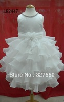 2013 New Arrival Children Clothing FLOWER Girl Kids Pageant Dress Party Princess Ball Gown Foraml White Dresses LK2447