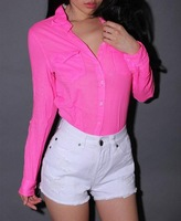 New Fashion Neon Colors fluorescent color Shirts Women turn-down collar long-sleeve Sexy Blouse Lady Soild Slim Shirts