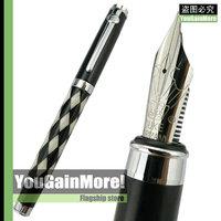 Duke Carbon Fiber Black And White Sea Shell Rhombus Fountain Pen Medium Nib Chrome Trim