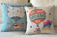 "Free Shipping 2 pcs/lot 18"" Hot-Air Balloon Theme Linen Burlap Decorative Throw Pillow Case Pillow Cover Cushion Cover Set"