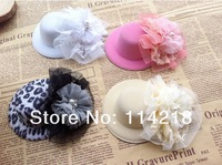 "Trial Order Mini Top Hat with4"" Vintage Lace Flower Frilly Hair Flowers and  2""  Chiffon  Pearl Flower with hairclip20pcs/lot"