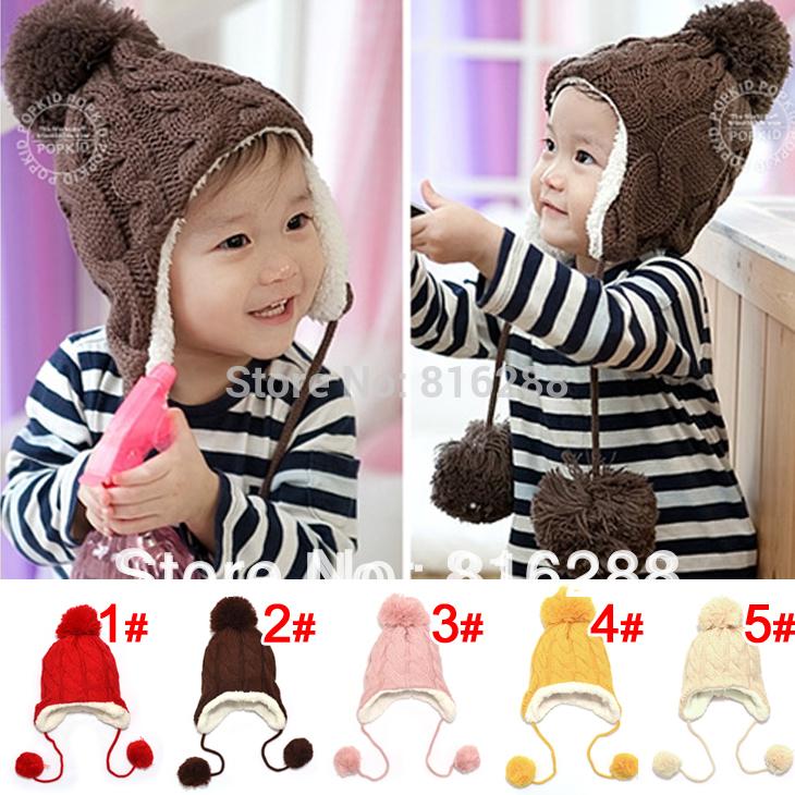 Baby Hat Warm Winter Cap For Baby Boy Girl Children's Crochet Earflap Hats Caps Brown Red Pink Yellow Beige(China (Mainland))