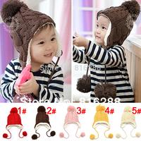 Baby Hat Warm Winter Cap For Baby Boy Girl Children's Crochet Earflap Hats Caps Brown Red Pink Yellow Beige