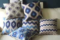 "Free Shipping 6 pcs/lot 18"" Geometric Pattern Theme Vintage Linen Decorative Throw Pillow Case Pillow Cover Cushion Cover Set"