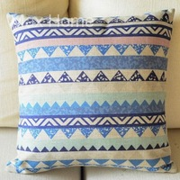"Free Shipping 18"" Geometric Pattern C Retro Vintage Style Linen Burlap Decorative Throw Pillow Case Pillow Cover Cushion Cover"