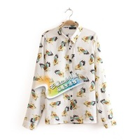 New 13 topshop fashion personality wings print pattern flying apsaras long-sleeve shirt female  Free Shipping