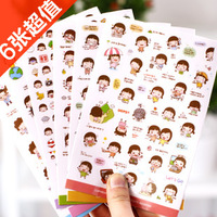 Transparent stickers momoi girl biscuits girl adhesive set 6