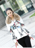 Free Shipping 2013 Winter White Duck Down Brand Character Zipper Tassel Fur Ladies' Coats Women' Parkas IB128812
