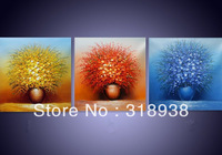 Framed hand painted 3pcs set painted Palette Knife Flower Oil Painting on canvas/ group painting wall art Free Shipping /AF112