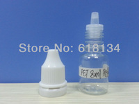 Wholesale 2500pcs/LOT 8ml PET  tamper evident caps drop bottle free shipping by  Fedex, drop bottle plastic bottle E-cigarette