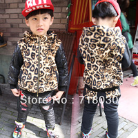 Hot  new children's winter clothing child Black Leopard print Leather stitching plus velvet hooded suits boys fashion casual set