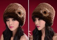 korea style  christmas gift  rabbit fur kintted  hats  with beauty flower lady winter cap free& drop shipping 2013