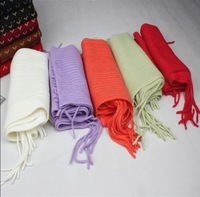 Tassel solid color sweet scarf female 2014 women's muffler scarf thermal knitted orange scarf
