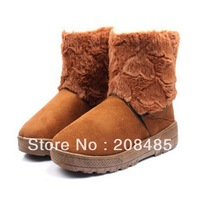 New arrival fashion winter warm flat heels solid snow boots eur size 35-40 coffee beige wholesale drop ship