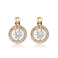 Italina Simple design fashion women jewelry/ zircon/rhinestone 18k real gold plated earring WL0526