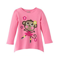 Free shipping 2014 new fashion spring autumn t-shirt cute monkey long sleeve tees  for baby girls childrens kids chothes tops