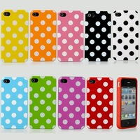 Hot Lovely Polka Dots TPU Soft Silicone Case Cover Skin For iPhone 4 4S 4G 2PCS