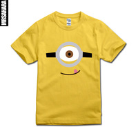 2014 new  USA movies Despicable Me small yellow Gru cartoon print male short sleeve t-shirt lovers tops novel tees casual brand
