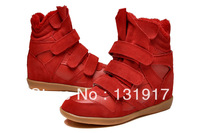 Free shipping Isabel Marant Women's Velcro Strap High-TOP Sneakers Shoes Ladys Ankle Wedge Boots fur winter warm shoes