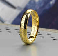 Fashion Jewelry Size 5/6/7/8/9/10/11/12 The Lord of the Rings Yellow Gold Plated Band Ring Wedding LOTR Ring Width 4mm