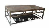 2014 new modern coffee table stainless steel marble top glass base for home furniture